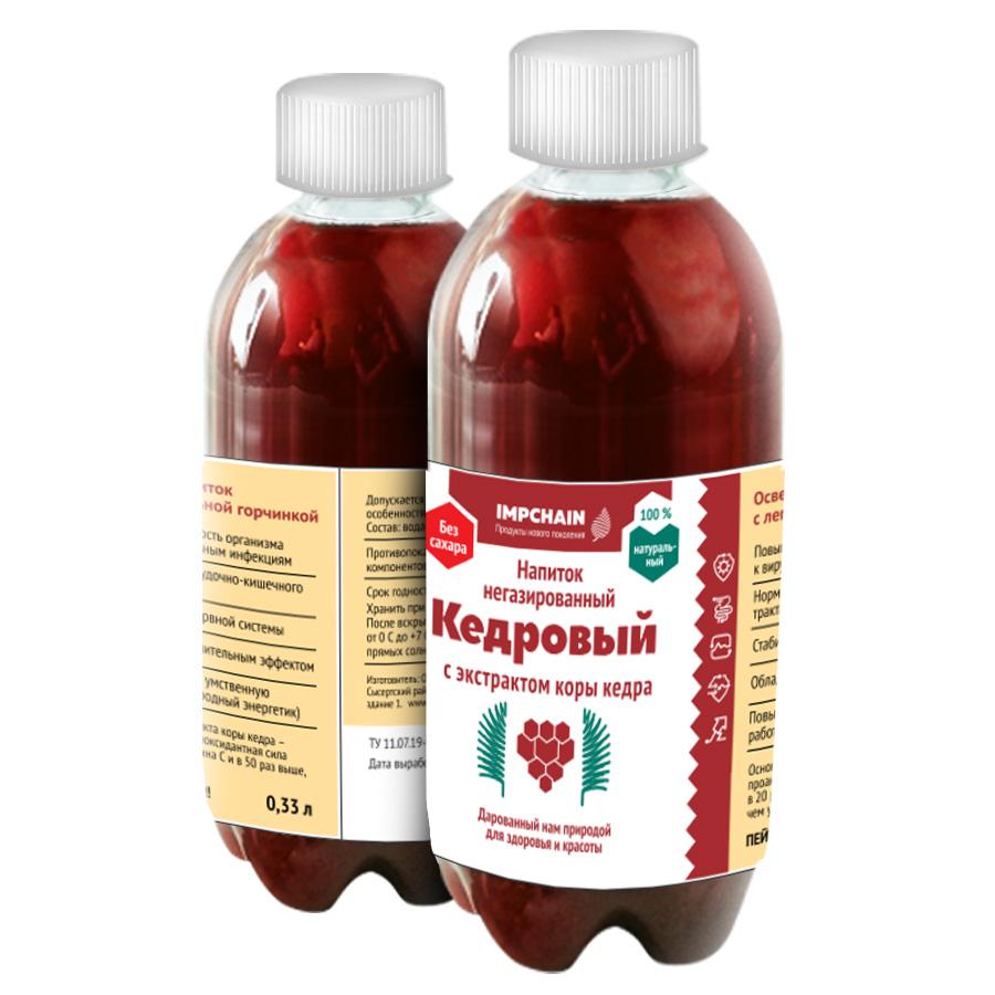 Напиток не газированный с экстрактом коры кедра, емкостью 0,33 л, цена 50 р. бутылка. Оптовые цены по запросу.