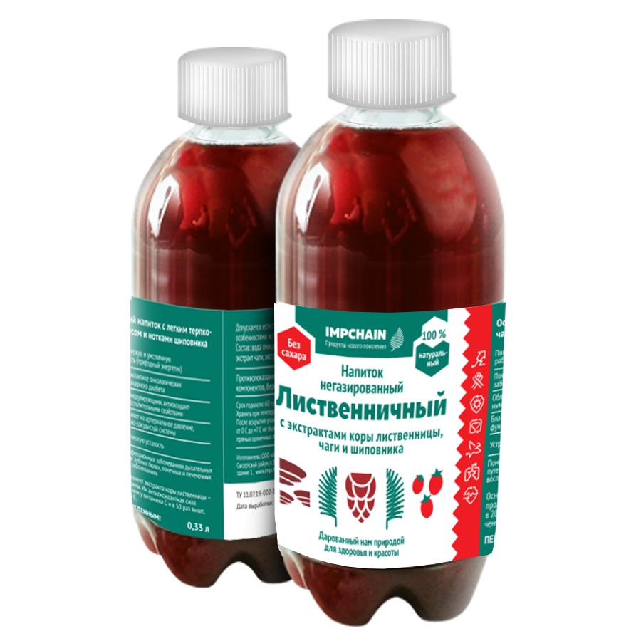 Напиток не газированный с экстрактом коры лиственницы, чаги и шиповника, емкостью 0,33 л, цена 50 р. бутылка. Оптовые цены по запросу.