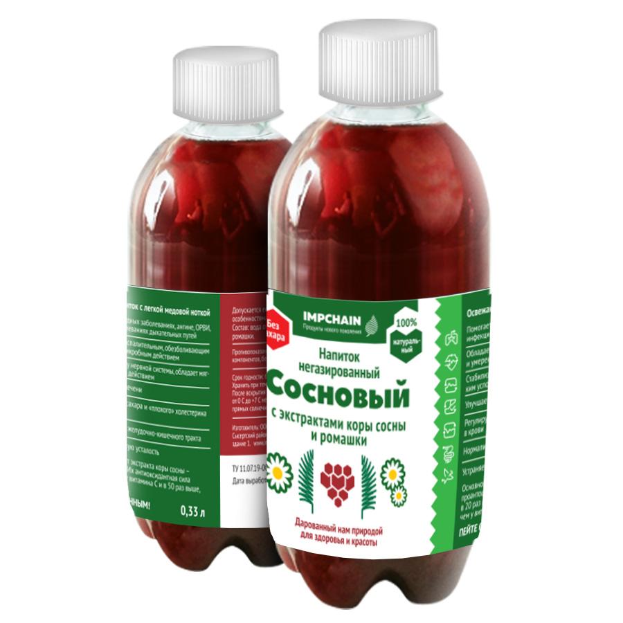 Напиток не газированный с экстрактом коры сосны и экстрактом ромашки, емкостью 0,33 л, цена 50 р. бутылка. Оптовые цены по запросу.