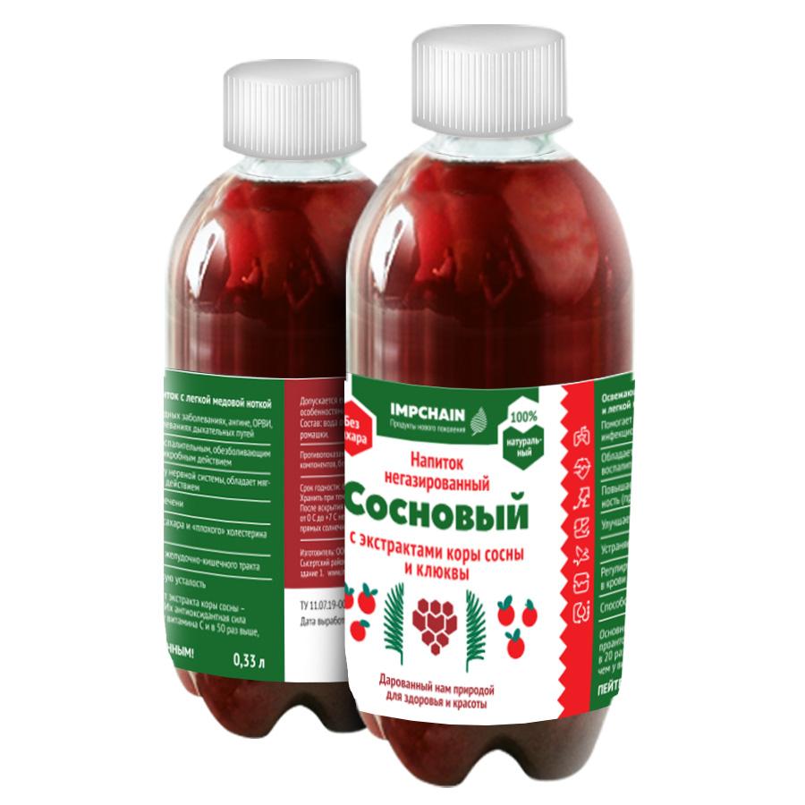 Напиток не газированный с экстрактом коры сосны и экстрактом клюквы, емкостью 0,33 л, цена 50 р. бутылка. Оптовые цены по запросу.